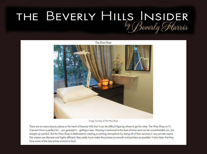 The Beverly Hills Insider's article featuring The Wax Shop Beverly Hills