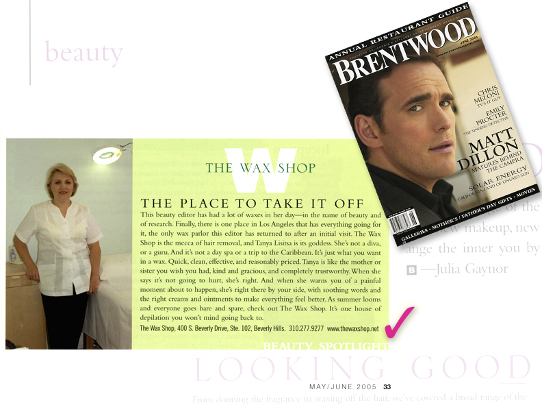 Brentwood Magazine's article featuring The Wax Shop Beverly Hills