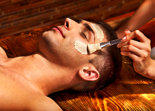 Image of a man getting a facial