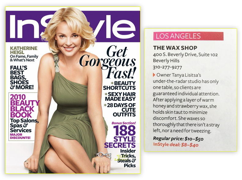 InStyle Magazine featuring The Wax Shop Los Angeles